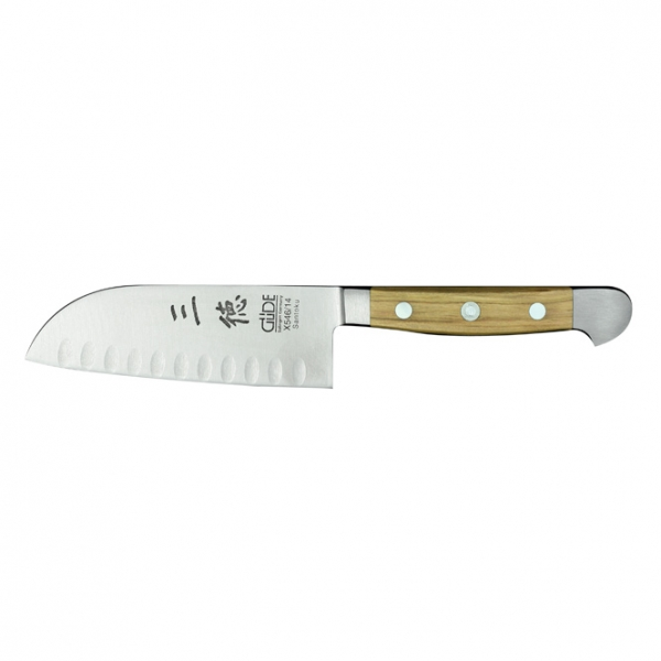 The GÜDE ALPHA OLIVE Small Granton Edge Santoku 14cm 170g